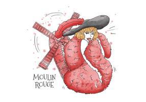Sexig kabarettkvinna som bär röd fjäderstal och svart hatt framför Moulin Rouge Paris vektor