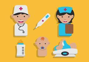 Kinderarzt-Vektor-Set