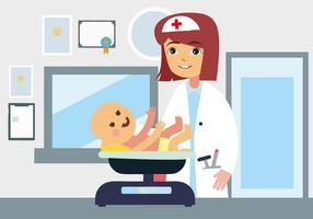 Free Young Female Doctor Kinderarzt Konzept Illustration. vektor