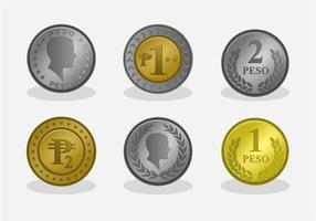 Münze von Peso Vektor Set