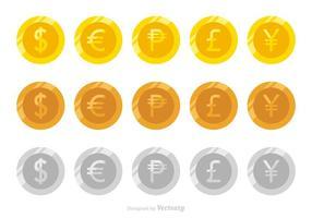 Flache Vektor Münzen der verschiedenen Währungen