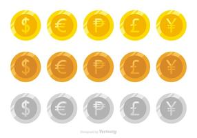 Plana vektormynt av olika valutor