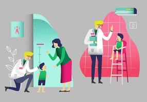 Barnläkare Medicinska Titta Upp Barn Vektor Illustration