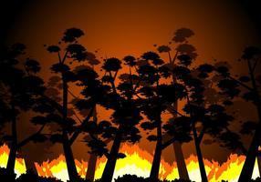 Brinnande skog fri vektor