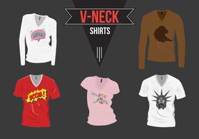 V-Neck Shirt mit Design Pack Vektor