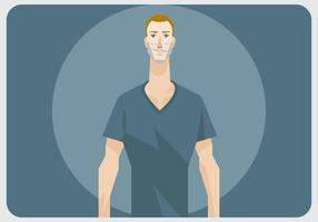 En man med V-halsskjorta vektor