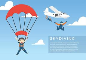 Skydiving Tecknad Gratis Vektor