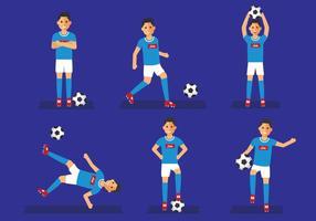 Napoli Soccer Player Ställ Vektor Illustration