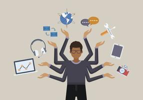 Flache Menschen Multitasking-Vektoren vektor