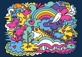 Bunte Zusammenfassung Doodle Vektor Hintergrund