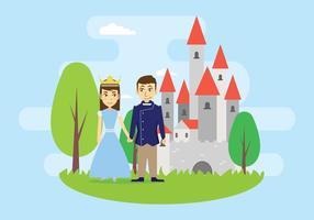 Fri prins och prinsessa som står framför slottillustrationen