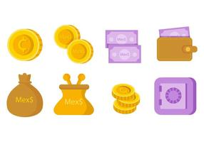 Free mexikanischen Peso Geld Icons Vektor