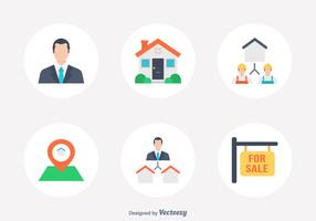 Immobilien Flat Vector Icon Set