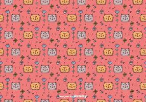 Katzen und Blumen Muster vektor