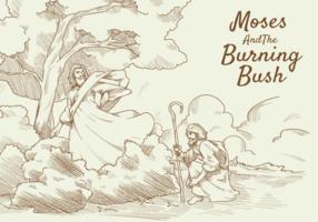 Moses und Burning Bush Vektor-Illustration vektor