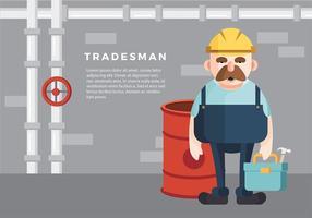 Tradesman tecknad fri vektor