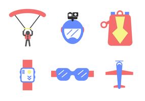 Platt skydiving ikon vektor