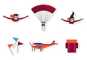 Flaches Skydiving-Symbol