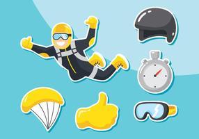 Fallschirmspringen Icon Set vektor