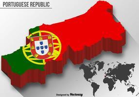 Vektor 3D Portugal karta med national flagga
