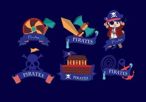 Piratbanner Mörkblå Vektor
