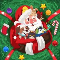 Santa und seine Haustiere vektor