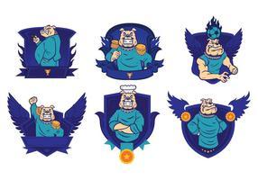 Freie Bulldoggen-Abzeichen Logo-Vektor 01