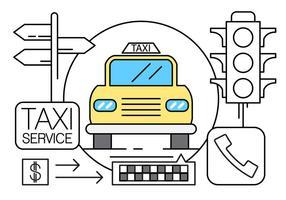 Gratis linjär taxi ikoner vektor