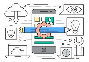 Linjär mobil mjukvaruutveckling vektor