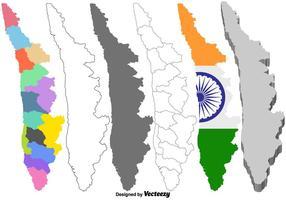 Vektor Kerala Indien Map Set