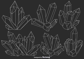 Vector Line Quarz Kristall Icons Set