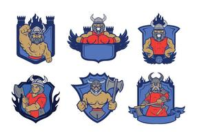 Viking badge mascot vector 01