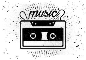Kostenlose Vintage Audio Kassette Vektor Illustration