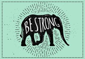 Free Vector Elephant Silhouette Illustration mit Typografie