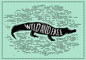 Free Vector Krokodil Silhouette Illustration Mit Typografie