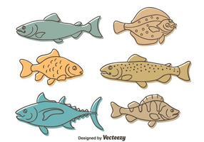Skissa fisk samling vektor