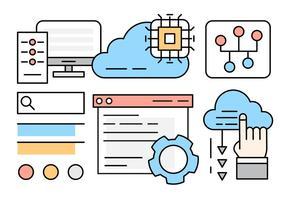 Linjär Cloud Computing Illustration
