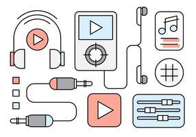 Kostenlose Linear Music Icons vektor