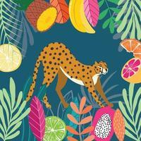 stor katt gepard sträcker sig på mörk tropisk bakgrund