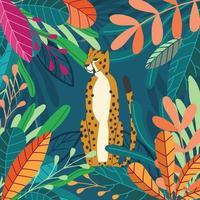 stor katt gepard sitter på mörk tropisk bakgrund vektor