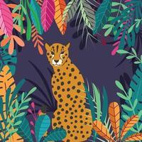 großer Katzen-Gepard, der auf dunklem tropischem Hintergrund sitzt