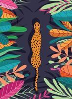 vild stor gepard som går genom mörk tropisk bakgrund vektor