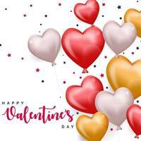 glad Alla hjärtans dag flytande hjärta ballonger och stjärnor vektor