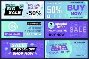 uppsättning försäljningsbannrar för online shopping vektor