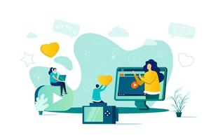 Blogger-Konzept im flachen Stil vektor