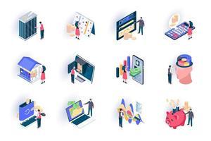 banktjänst isometriska ikoner set