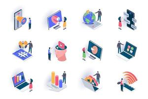 sociala medier isometriska ikoner set vektor