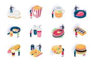 livsmedel isometriska ikoner set vektor