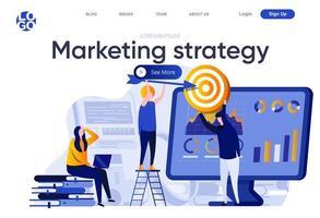 marknadsföringsstrategi platt målsida vektor
