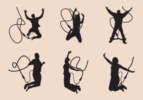 Bungee-Jumping Silhouette Set vektor